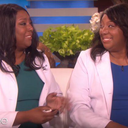 Brandi Jackson, '15 MD (left) with twin sister, Brittani Jackson, MD