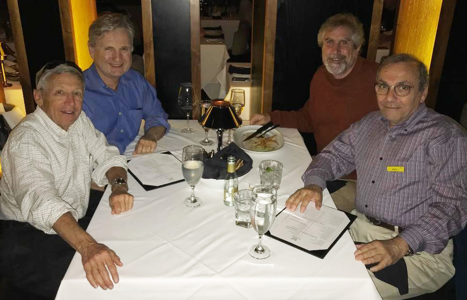 Four Southern California alumni from the MD Class of 1973 get together regularly for dinner. From left to right, Steve Golbus, '73 MD; Dan Gardner, '73 MD; Stanley Goldberg, '73 MD; and Leo Gordon '73 MD.