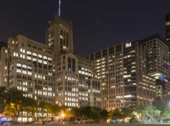 Exterior of the Ward building on the Northwestern University Chicago campus at night