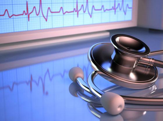 stehtoscope and heart ECG